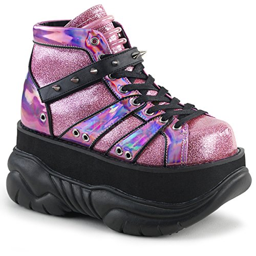 Demonia Neptune-100 Ankle Boot, Pink Glitter Silver/Vegan Leather, 10 M US by Demonia