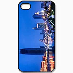 Protective Case Back Cover For iPhone 4 4S Case Asia East Night Lake Bridge People Black