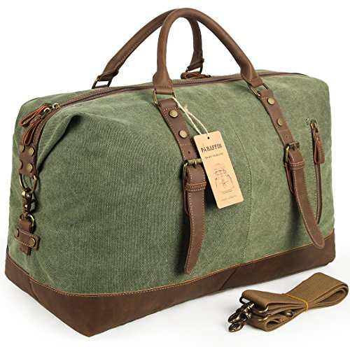 Oversized Travel Duffel Bag Canvas Leather Trim Overnight Bag Weekend Bag for Men and Women by Paraffin (Image #7)
