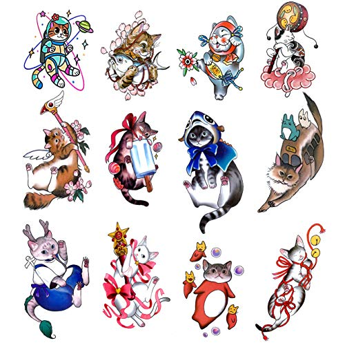 Oottati 12 Sheets Super Cute Tiny Japan Cats Fish Temporary Tattoo Suit for Wrist Ankle Hand Neck