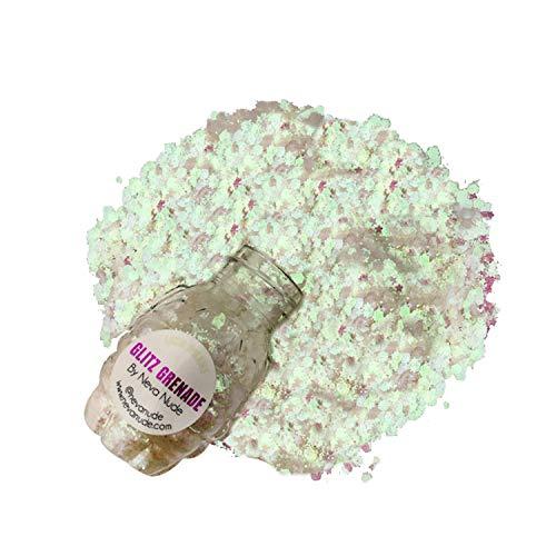 Neva Nude Lucid Dreams White Iridescent Chunky Loose Glitter Glitz Grenade Keychain Festival Rave Face Body ()
