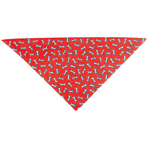 Bandanna Fashion - Top Performance Cotton/Polyester Fashion Dog Bandanna, Red Tossed Bones, 22-Inch