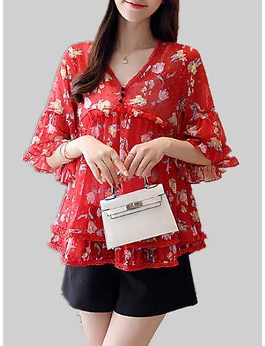 Print Femme Floral Geometric Blouse Ruffle Pink YFLTZ Blushing wO8qXUa5yx