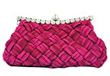 Chicastic Pleated and Braided Rhinestone studded Wedding Evening Bridal Bridesmaid Clutch Purse - Fuchsia Pink