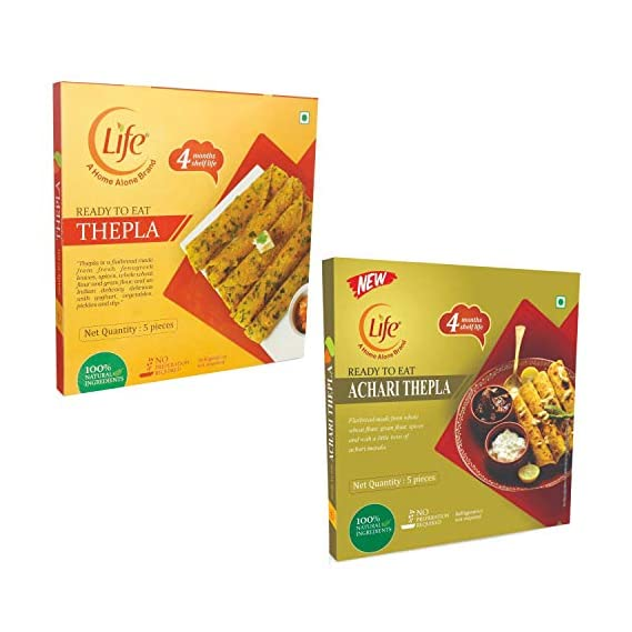 Home Alone Products Life Ready to Eat Thepla (200 g Each, Achari, Fenugreek) -Pack of 2