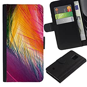 Samsung Galaxy S5 Mini / SM-G800 (Not For S5!!!) Modelo colorido cuero carpeta tirón caso cubierta piel Holster Funda protección - Easter Bird Vibrant Colors Purple