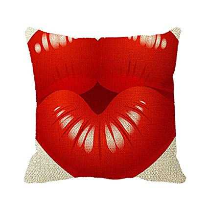 Starings Pillowcase Heart Shaped Lips Decorative Pillow Cover For Couch