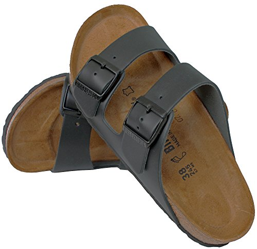 Birkenstock 'Arizona' Oiled Real Leather 2-Strap Women's Sandals, Black (7-7.5 M US Women - 38 M EU - Normal/Regular Width)