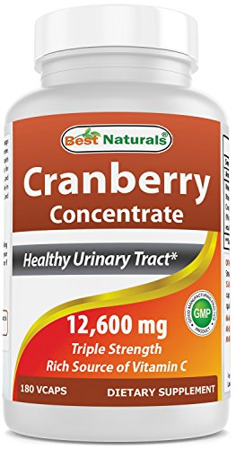 (Best Naturals Cranberry Pills 3X Concentrate Veggie Capsule, 12600 mg, 180 Count)