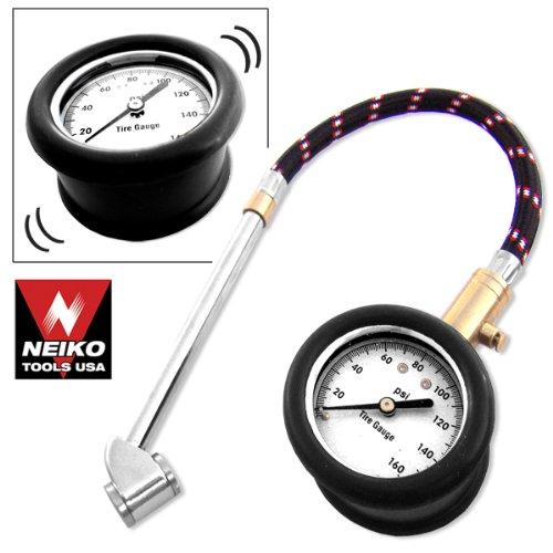 Neiko Heavy Duty Tire Gauge with Large Dial, Flex Hose