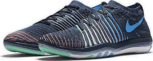 Nike Vrouwen Vrije Transformatie Flyknit Cross Training Schoenen Squadron Blauw / Groene Gloed / Top Wit / Blauwe Gloed
