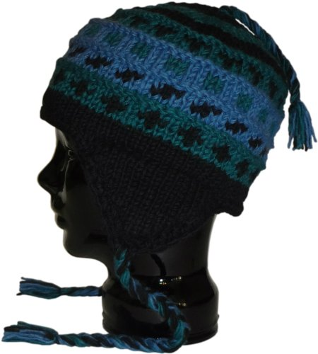 Authentic Soul Blue Black Purple Unisex Hand Knit Sherpa Beanie - Hat Everest Flap