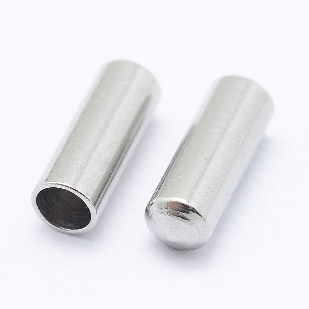 Silver UNICRAFTALE 20 PCS Stainless Steel Column End Caps Leather Cord Ends Leather Cord Terminators for Jewelry Making 7x2.5mm Inner Diameter 2mm