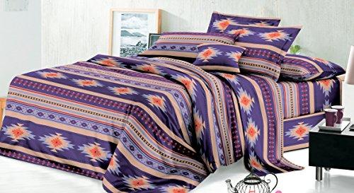 Rustic Western Southwest Native American Design 3 Piece Sheet Set Navajo Print Multicolor Purple and Beige Brown 17426 Twin Purple Sheet Set