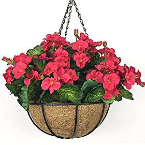 Lopkey Artificial Begonia Flowers Outdoor Patio Lawn Garden Hanging Basket Fake Flower,10 Inch Red 68