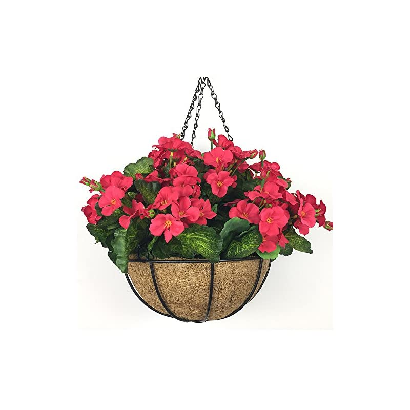 silk flower arrangements lopkey hanging basket with artificial flowers begonia wall coconut palm basket artificial hanging flower plant for outdoor patio lawn garden (red-white 10inch)