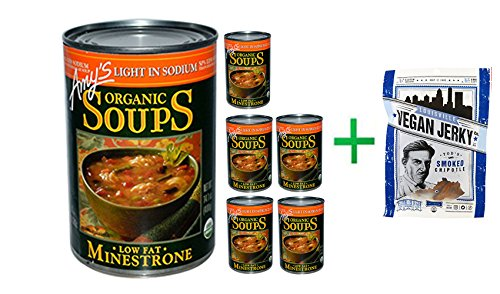 - Amy's, Organic Soups, Low Fat Minestrone, Light in Sodium, 14.1 oz (400 g)(6 PACK )+ Louisville Vegan Jerky Co, Vegan Jerky, Todd's Smoked Chipotle, 3 oz (58.05 g)