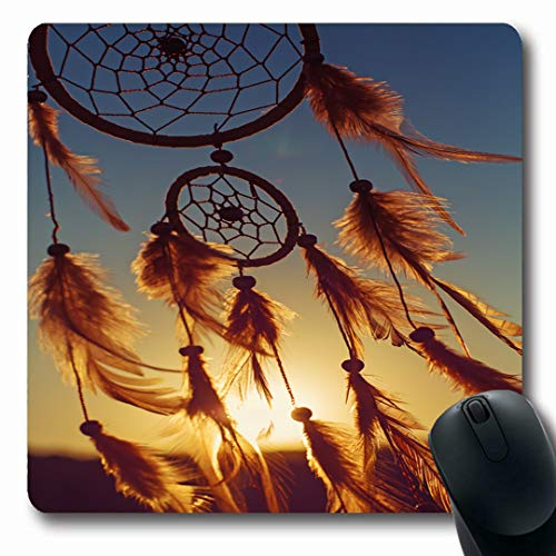 (Ahawoso Mousepads Charm Catcher Dreamcatcher Sunset Boho Chic Ethnic Way Amulet Dream Totem Romantic Vintage Abstract Oblong Shape 7.9 x 9.5 Inches Non-Slip Gaming Mouse Pad Rubber Oblong Mat)