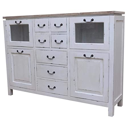 Etnicart - Credenza Alta Shabby Chic con Top in teak ...