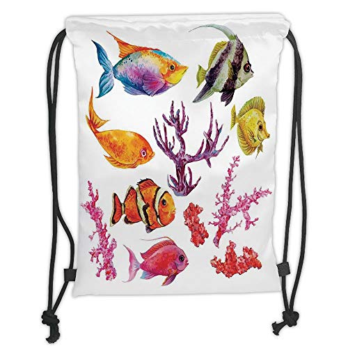 New Fashion Gym Drawstring Backpacks Bags,Ocean Decor,Illustration of Tropical Fish Seaweed Coral Algae and Jellyfish Oceanic Wild Life,Orange Purple Soft Satin,Adjustable String