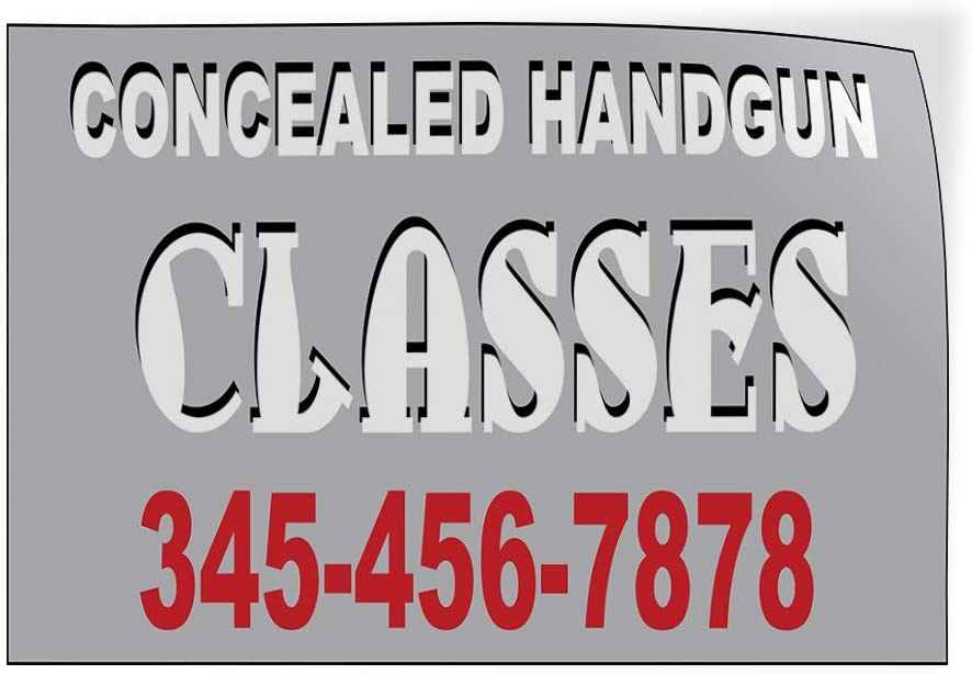 Custom Door Decals Vinyl Stickers Multiple Sizes Concealed Handgun Classes Phone Number Education Concealed Handgun Classes Outdoor Luggage /& Bumper Stickers for Cars Grey 60X40Inches Set of 2