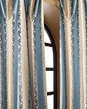 Blue & Gold striped floral silk taffeta bed room window lined curtain panel drape (52″W X 84″L) For Sale