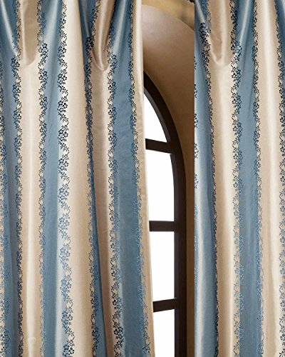 Blue & Gold Striped Floral Silk Taffeta Bed Room Window Lined Curtain Panel (52