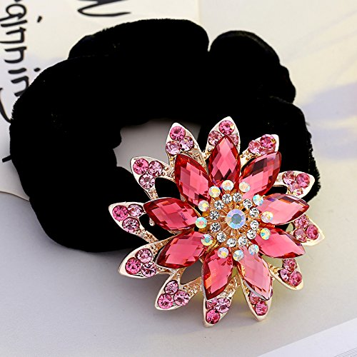 usongs Pink hair rubber band dish on top Ms flower children headband decorated women girls student bud Hotel rubber color hair band with a women girls head head
