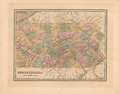 Pennsylvania Antique Map Bradford 1838 Original Decor History Housewarming Ancestry Gift Ideas ()