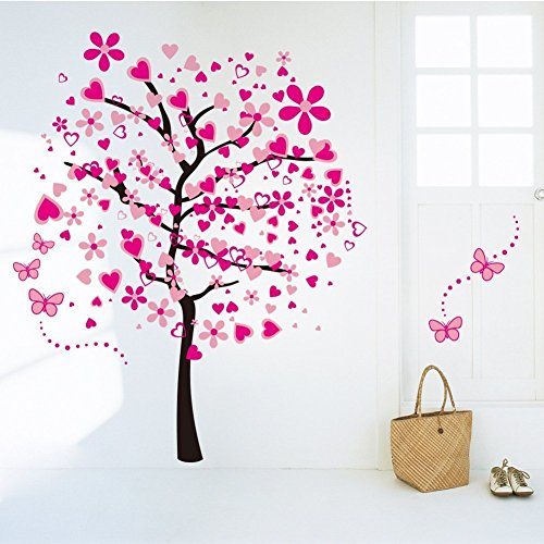 Huge Size Cartoon Heart Tree Butterfly Wall Decals Removable Wall Decor Decorative Painting Supplies & Wall Treatments Stickers for Girls Kids Living Room Bedroom Wallpops