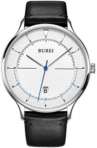 BUREI Unisex Quartz Slim Minimalist Designer Date Wrist Watches with Leather Mesh Band