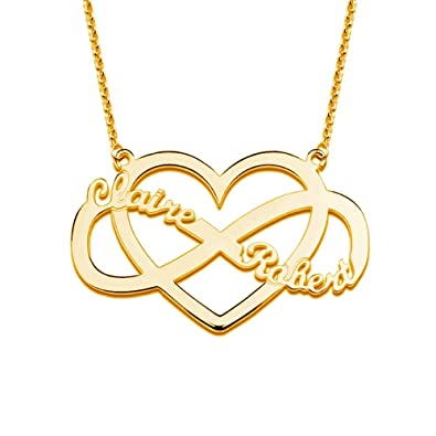 6fbf0909a1dc4 Amazon.com: LONAGO 925 Sterling Silver Personalized Heart Infinity ...