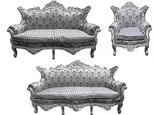 Casa Padrino Barock Wohnzimmer Set Grau Muster/Silber  3er Sofa+2er Sofa + Photo Gallery