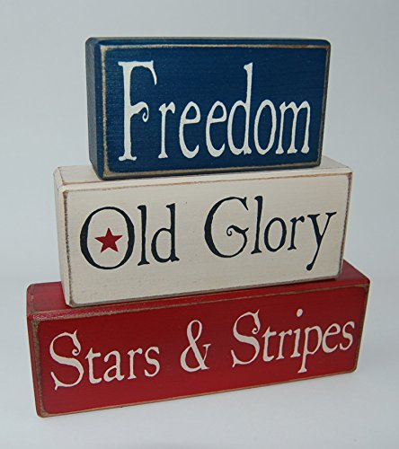 Freedom Old Glory Stars & Stripes Summer Primitive Country Distressed Wood Stacking Sign Blocks Seasonal Holiday America Fourth of July-4th of July Americana Home Decor