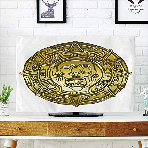 iPrint LCD TV Cover Multi Style,Pirate,Gold Money Pirate Coin Medallion Scary Skull Figure Ancient Antique Currency Print Decorative,Gold White,Customizable Design Compatible 55