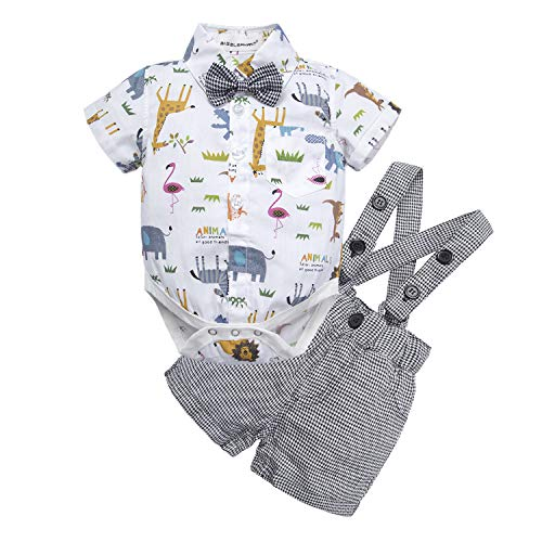 BIG ELEPHANT Baby Boys' 2 Piece T-Shirt Suspender Shorts Clothing Set (0-3 Months, Style -