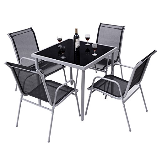 Giantex 5 Pcs Bistro Set Table and Chairs Indoor Outdoor Garden Patio Dining Furniture (Outdoor Dining Bistro Set)