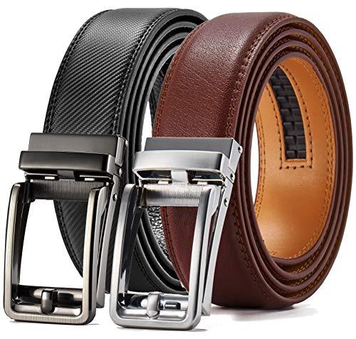 """Sliding Ratchet - Men's Belt Gift Set,Click Ratchet Belt Dress with Sliding Buckle1 3/8""""–Adjustable Exact Fit"""