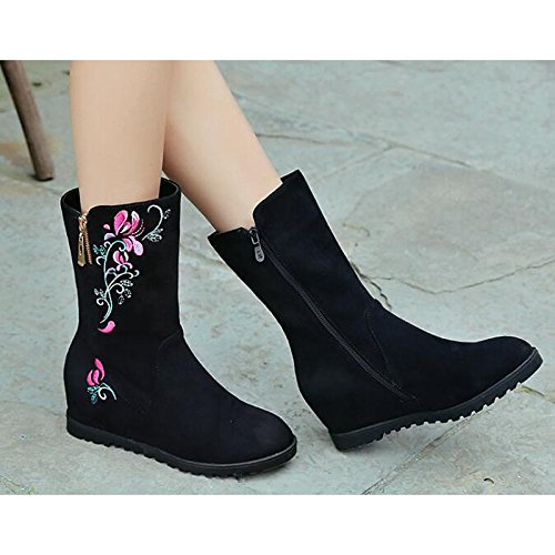 Round Heel Toe leather HSXZ Comfort Mid Animal For Print Women's Boots Wedge Spring Boots Shoes Nubuck ZHZNVX Fall Black Boots Walking Fashion Shoes Calf IZxAqa66w