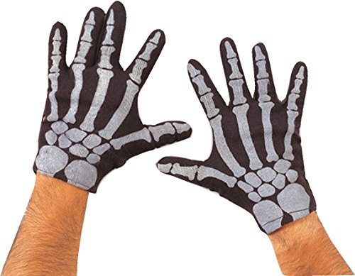 Rubie's 332 Costume Co Men's Skeleton Gloves-Black/White