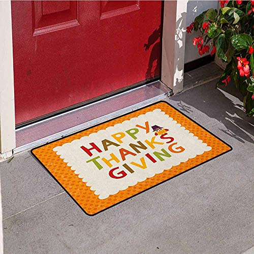 GloriaJohnson Kids Thanksgiving Welcome Door mat Little Owl with Pilgrims Hat Celebratory Phrase and Polka Dots Door mat is odorless and Durable W19.7 x L31.5 Inch Orange Multicolor