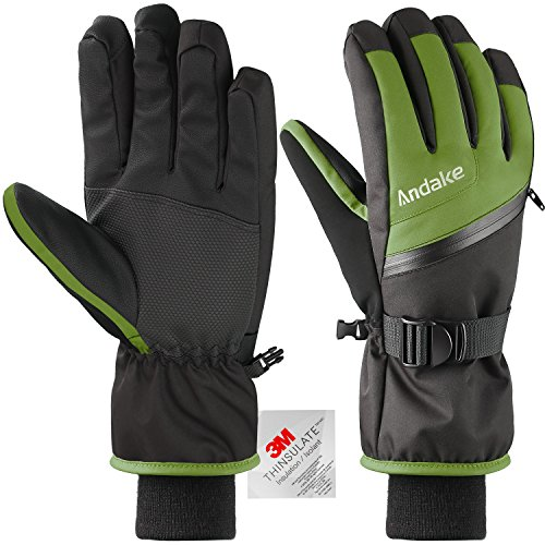 Andake Ski Gloves, Touchscreen 3M Thinsulate Waterproof TPU Membrane Men's Winter Gloves with Non-Slip PU Palms, Zippered Pocket and Adjustable Wrist for skiing, snowboarding, climbing and (Snowboard Gloves Green)