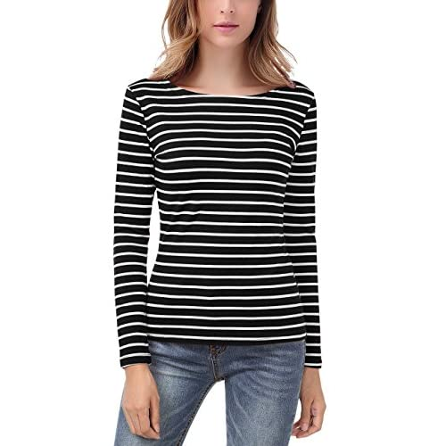 Top EA Selection Women's Long Sleeves Stripes Casual Lightweight T-Shirt Tops supplier