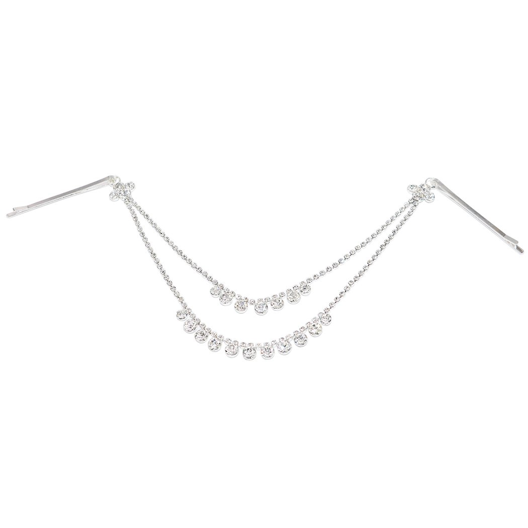 Rosemarie Collections Women's Simple Tikka Hair Comb Head Chain with Clear Crystals