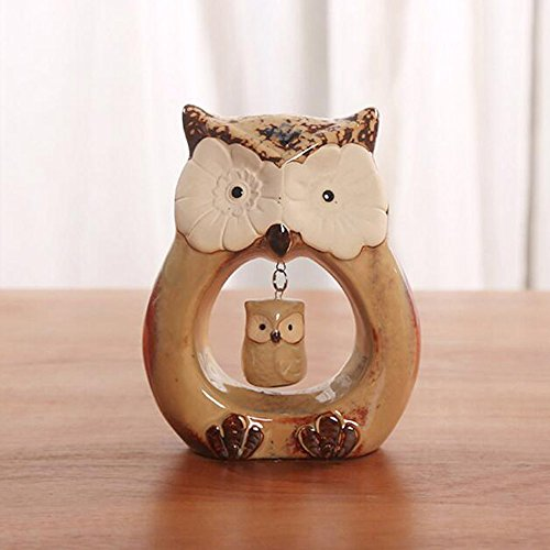 2 Owl Figurines - WOMHOPE Set of 2 - Wise Owls Statues House Warming Gift Combined Figurine Statues Tabletop Shelf Ceramic Ornaments Home Decorative Collectible Figurine Statues (Swing)