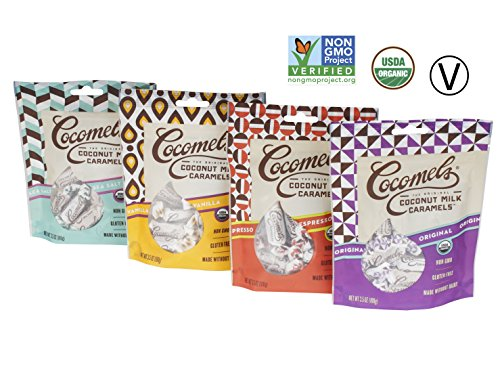 Cocomels Coconut Milk Caramels - Variety Pack - Flavors: Original, Vanilla, Sea Salt, Espresso - Kosher - Made Without Dairy - Organic - Gluten Free - GMO Free - (4 Pack) (3.5 oz each)