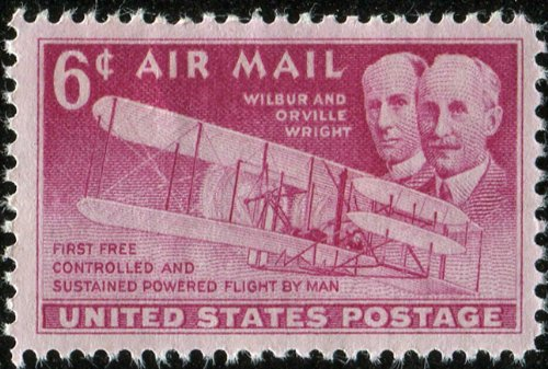WRIGHT BROTHERS & THE FLYER ~ FIRST POWERED FLIGHT #C45 Single 6¢ US Air Mail Postage Stamps