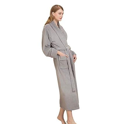 Bathrobe Albornoz de Color sólido, Batas de Ducha de algodón largas para Hombres y Mujeres