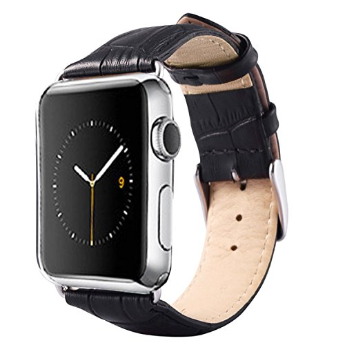Apple Watch 3 Leather Band 42MM - iPulse [Frorida Series] Full Grain Leather Strap Replacement Wristband For Apple Watch Series 1/2 - [Crocodile Pattern][Stainless Steel Clasp][Extra Solid Connector]