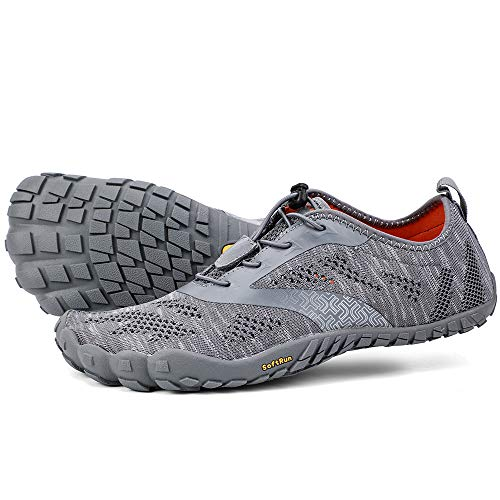 ALEADER hiitave Men/Womens Minimalist Barefoot Trail Running Shoes Wide Toe Glove Cross Trainers Hiking Shoes Gray Men's Sizes 12~12.5 - Glove Gray Mens